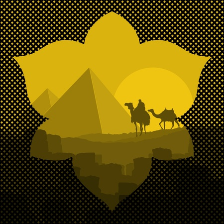 cleopatra: Pyramids and camel caravan in wild africa landscape illustration
