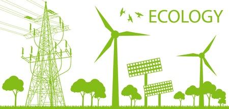 Vent d'énergie alternative générateur de vecteurs sur fond vert Vecteurs