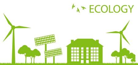 solar cells: Wind alternative energy generator green vector background