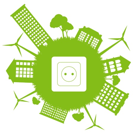 solar cells: Green ecology energy planet vector concept with socket and wind generators Illustration