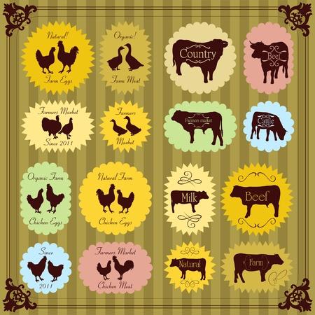 vlees: Boerderijdieren markt ei en vlees etiketten voedsel illustratie inzameling Stock Illustratie