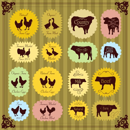 Farm animals market egg and meat labels food illustration collection Vector
