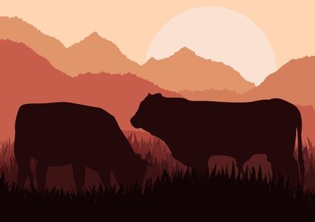 boeufs: Les bovins de boucherie dans l'illustration de la nature sauvage du paysage Illustration