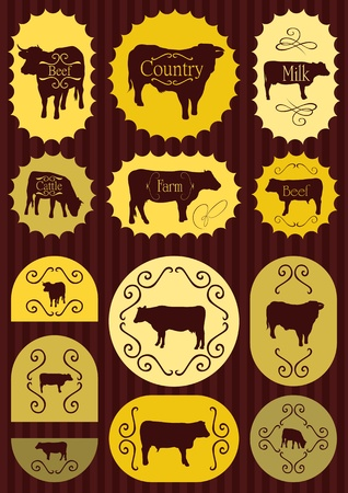 domestic cattle: Beef cattle food labels illustration collection