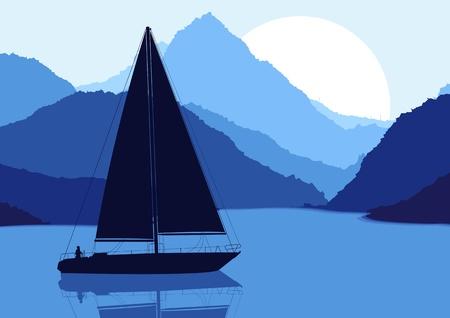 river water: Yacht sailing in wild nature landscape illustration Illustration