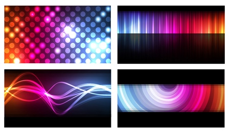 neon color: Set of colorful business cards neon background vector