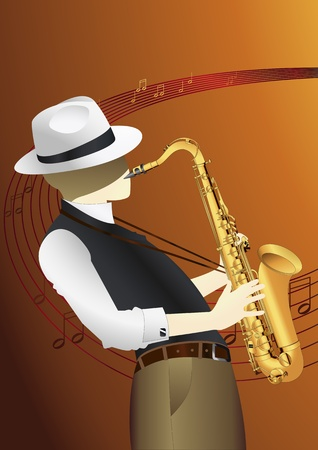 saxophonist: Saxophone player background illustration Illustration