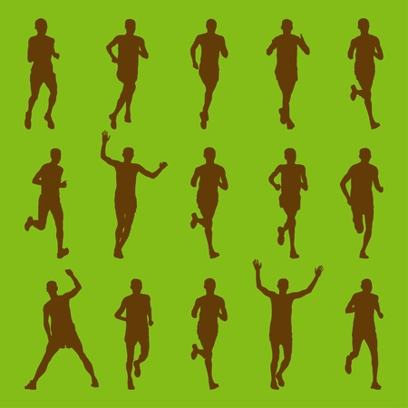 Environmental marathon runners people silhouettes illustration collection Vector