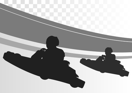 kart: Go cart driver race track landscape background illustration