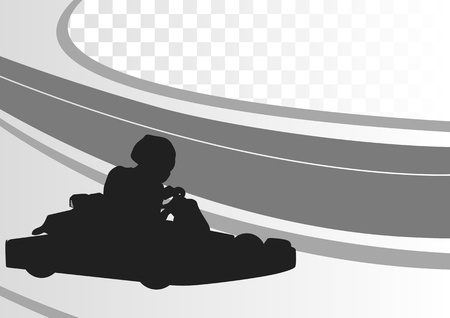 Go cart driver race track landscape background illustration Vector