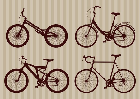 Vintage bicycle illustration collection Vector