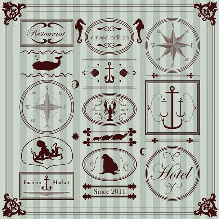 navy ship: Vintage marcos restaurante de mariscos y recolecci�n de elementos de la ilustraci�n Vectores