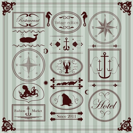 Vintage seafood restaurant frames and elements illustration collection Vector