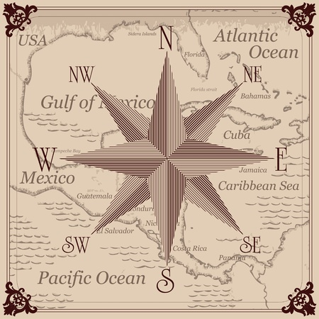 havana cuba: Vintage compass and Caribbean central america map background illustration