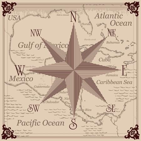 central: Vintage kompas en het Caribisch gebied Centraal-Amerika kaart achtergrond afbeelding Stock Illustratie