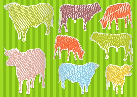 Cow and beef cattle colorful illustration collection background Vector