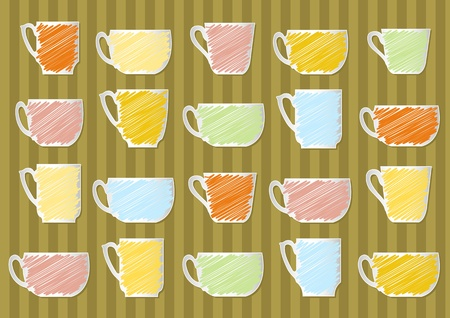 Children tea cup colorful illustration collection background Vector