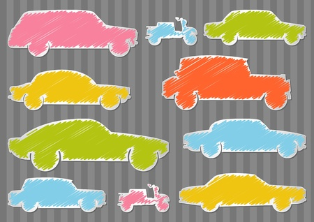Colorful car transportation illustration collection background Vector