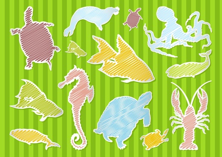 Sea animals illustration collection background Vector