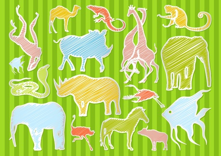 Africa animals illustration collection background Stock Vector - 11649885