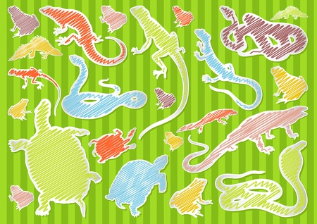 Colorful hand drawn amphibian reptile illustration collection background Illustration
