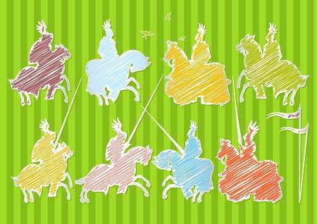 uomo a cavallo: Colorful cavaliere cavaliere medievale illustrazione sfondo raccolta