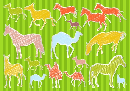 running camel: Horse and camel colorful illustration collection background