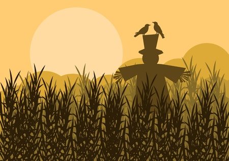 Scarecrow in corn field autumn countryside landscape background illustration Vector