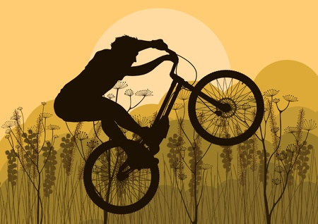 Mountain bike trial rider in wild nature landscape background illustration Vector