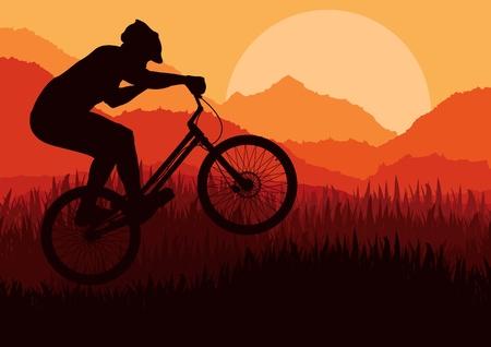 adrenalina: Bicicleta de monta�a de prueba piloto en la ilustraci�n de fondo salvaje, naturaleza, paisaje