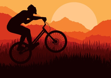 trials: Mountain bike trial rider in wild nature landscape background illustration