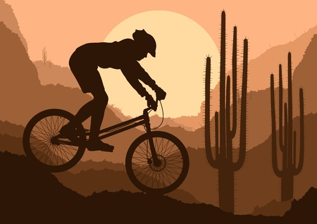 Mountain bike trial rider in wild nature landscape background illustration Vector