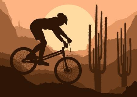 mountain biker: Mountain bike trial rider in wild nature landscape background illustration