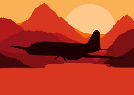 Plane flying in wild nature landscape illustration Vector