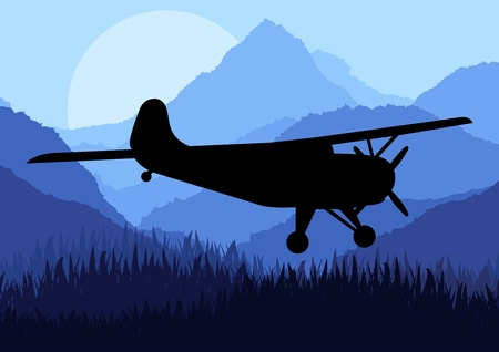 Airplane flying in wild nature landscape background illustration Vector