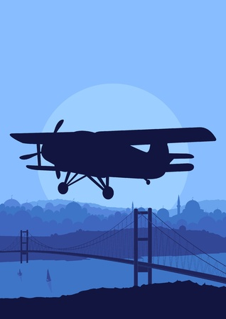 Airplane flying in Arabic city bridge landscape background illustration Vector