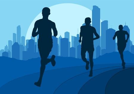 road runner: Los corredores de marat�n de ilustraci�n de fondo urbano de la ciudad paisaje