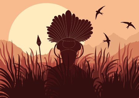 morning rituals: African warrior in wild nature landscape background illustration