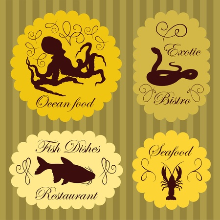 Seafood labels illustration background collection Vector