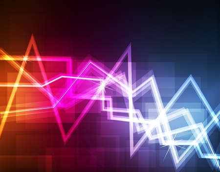 Neon abstract lines design on dark background vector Vector