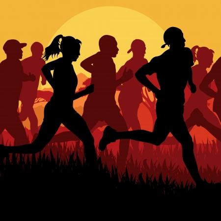 road runner: Marat�n de corredores de fondo vector Vectores