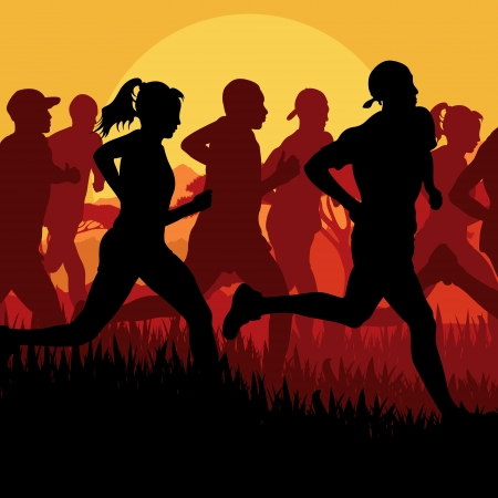 Marathon runners vector background Vector