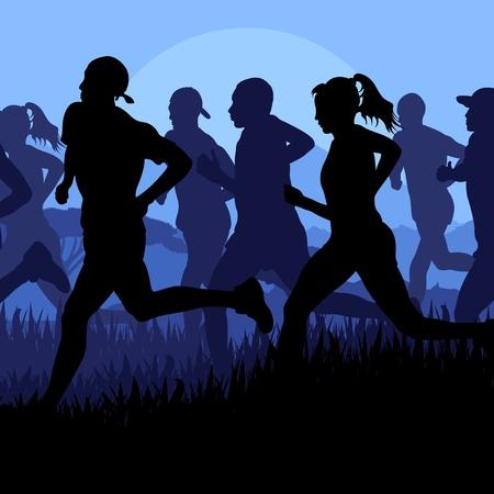 road runner: Marathon runners vector background