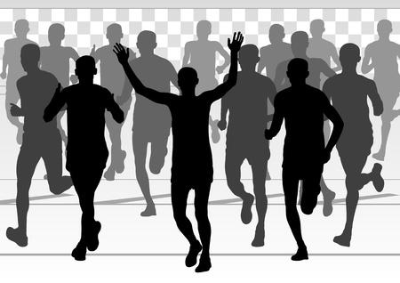 Marathon runners vector background Vector