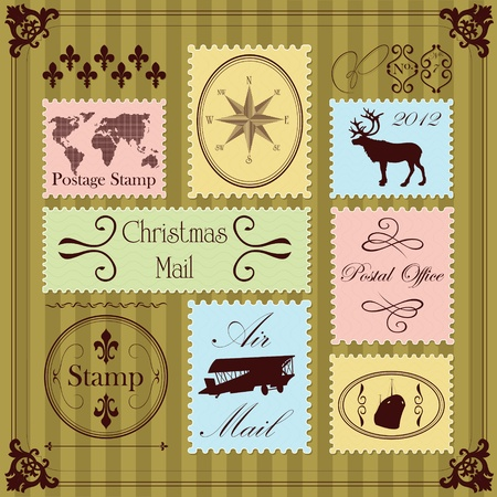 Vintage Christmas postage stamps illustration collection background Vector