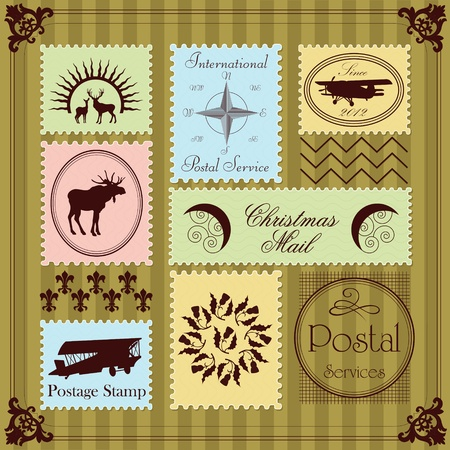 Vintage Christmas stamps illustration collection background Vector