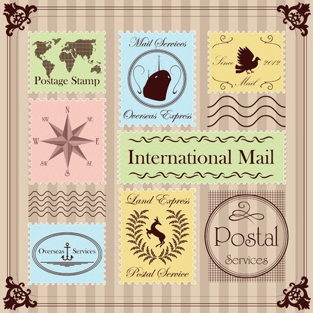 postal office: Vintage Christmas stamps illustration collection background