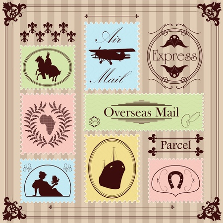 overseas: Vintage Christmas stamps illustration collection background