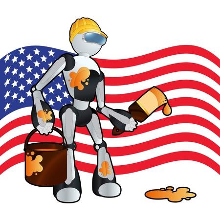 American construction painter robot background illustration Stock Vector - 11650059