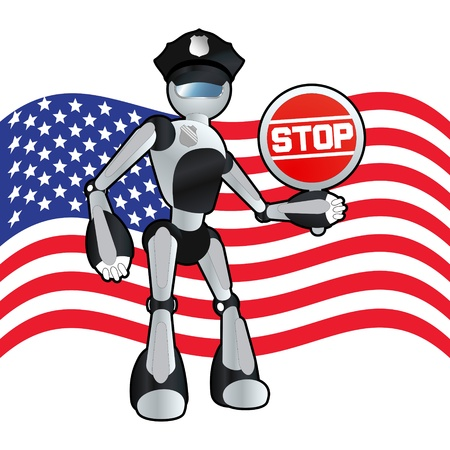 American police officer robot background illustration Stock Vector - 11650093